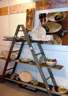 A Frame Ladder Display: 6 foot ladder and random shelves Ladder Shelf Decor, Ladder Display, Display Shelves, Ladder Shelves, Shelving, A Frame Ladder, Old Ladder, Vintage Ladder, Room Decor For Teen Girls