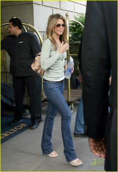 slim bootcut jeans and mint green Jennifer Aniston