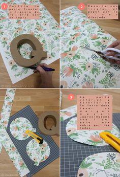 Made with lof: DIY - ¿Cómo empapelar tu letra de cartón?