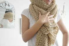 Camel Wool ,Soft, Warm Scarf on Etsy, $69.00