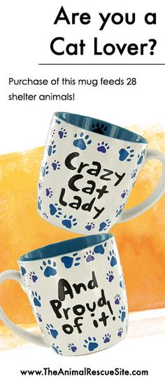 Are you a Crazy Cat Lady? Remind yourself every morning with this fun mug. Every mug purchased also funds 14 meals for Rescued Animals in Need! Shop the Cause: www.Shop2Give.us/CatLadyMugs