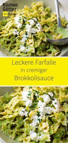 Brokkoli Pasta recipes most popular dinner Farfalle mit Brokkolisauce Easy Dinner Recipes, Easy Meals, Vegetarian Recipes, Healthy Recipes, Food Inspiration, Healthy Snacks, Veggies, Grilled Vegetables, Food And Drink