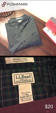 L.L Bean dress shirt Green plaid dress shirt. Perfect condition. Worn once. Make an offer! I'm flexible! L.L. Bean Shirts Dress Shirts