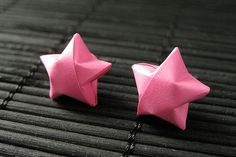 Star Earrings. Hot Pink Star Earrings. Origami Star Earrings. Paper Star Earrings. Silver Post Earrings. Stud Earrings. Oragami Jewelry. by StumblingOnSainthood from Stumbling On Sainthood. Find it now at http://ift.tt/1PNsJF7!