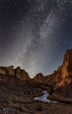 Galaxy on the Horizon - The Milky Way rises over Smith Rock, by Rob Etzel... #night #astrophotography #stacking #LongExposure #Oregon #Redmond #Bend #MilkyWay #CrookedRiver #SmithRockStatePark