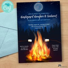 Backyard Bonfire Cookout, Birthday Party, BBQ, S'mores Invitation | 5x7, 2-sided | Editable Digital Printable Template | Edit Online & Print Personalized Invitations, Digital Invitations, 40th Birthday, Birthday Parties, Edit Online, We Can Do It, Text Messages, Rsvp