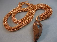 Wolf Hunter Chain Maille Necklace by Athena's Armory. Full Persian/Foxtail weave, copper jump rings, mahogany obsidian pendant. $63.