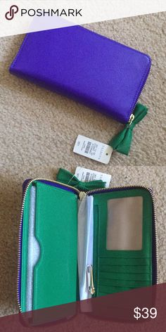 Brand new purple wallet for 2018! Brand new, never used purple wallet. 7 card compartments, ID display, coin bag & zip close. Perfect to hold all the money you make in 2018, you Boss Lady, you! Talbots Bags Wallets