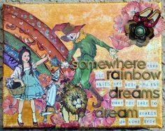 Fun, fun mixed media canvas by Julie Tucker-Wolek, taken from the @BluemoonScrabooking.com