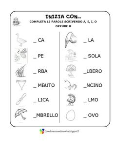 Some verification exercises to evaluate the recognition of .- Alcuni esercizi di verifica per valutare il riconoscimento delle vocali all& Some verification exercises to evaluate the recognition of vowels in the beginning, at the end and within words. Italian Phrases, Italian Words, Preschool Games, Preschool Learning, Italy For Kids, Italian Lessons, S Alphabet, Kids Math Worksheets, Maila