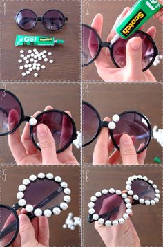 DIY Embellished Sunglasses With Pearls projekte aufbewahrung 15 Ways to Make Cool DIY Embellished Sunglasses - Pretty Designs Diy Tumblr, Cool Diy, Easy Diy, Karneval Diy, Diy Fashion Projects, Cute Sunglasses, Sunnies, Pretty Designs, Tumblr Outfits
