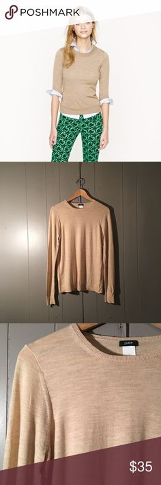 J. Crew Merino Wool Sweater in Natural Beautiful lightweight, soft, and cozy crew neck sweater in like new condition! No flaws. Offers are welcome. J. Crew Sweaters Crew & Scoop Necks
