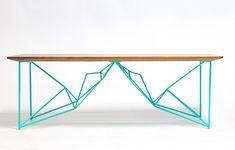 Modern Geometric Coffee Table, Seafoam Powdercoated Steel Base with Walnut Tabletop.