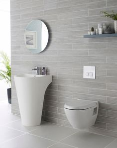 Modern bathroom ideas for tiles! elegante stilvolle graue Fliesen im Badezimmer - Add Modern To Your Life Shower Room, Bathroom Inspiration, Modern Bathroom, Small Bathroom, Grey Bathroom Tiles, Downstairs Toilet, Bathroom, White Bathroom, Bathroom Decor