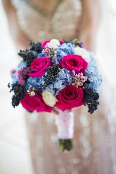 Pink and blue wedding flowers flowers colors inspirations bright blue and pink bridal bouquet mightylinksfo