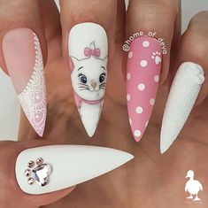 Want some ideas for wedding nail polish designs? This article is a collection of our favorite nail polish designs for your special day. Disney Acrylic Nails, Summer Acrylic Nails, Best Acrylic Nails, Summer Nails, Perfect Nails, Gorgeous Nails, Pretty Nails, Perfect Makeup, Disney Nail Designs