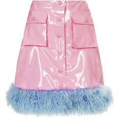 TOPSHOP **Pink PVC Fur Trim Skirt by Meadham Kirchhoff (£120) ❤ liked on Polyvore featuring skirts, bottoms, pink, pink knee length skirt, a line skirt, pink pvc skirt, topshop and pink skirt
