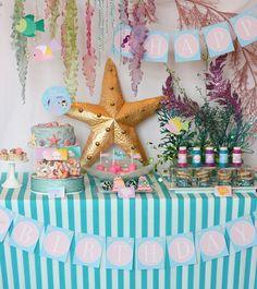 Una mesa preciosa para una fiesta sirena o una fiesta mar / A stunning table for a mermaid party or a sea party