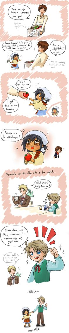 Gifts from America by randomsketchez.deviantart.com on @deviantART Piri, Spain, Mexico, England, and Colonial!America -so much yes!!!