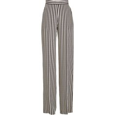 Etro Striped High-Waisted Wide Leg Silk Pants ($930) ❤ liked on Polyvore featuring pants, stripes, high-waisted trousers, high waisted pants, stripe pants, white high waisted trousers and silk pants