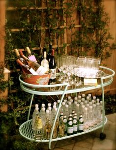 stocked bar cart.
