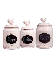 Look what I found on #zulily! Antique Chalkboard Rooster Canisters - Set of Three by Home Essentials and Beyond #zulilyfinds