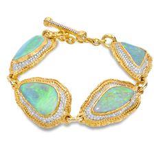 Victor Velyan ~ Black opal and diamond bracelet in white and yellow gold 24k Gold Jewelry, Opal Jewelry, Jewelry Bracelets, Jewlery, Modern Jewelry, Vintage Jewelry, Black Opal, Pomellato, Boho