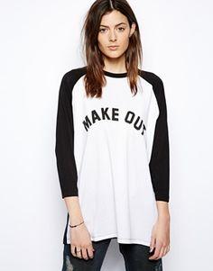 Imagen 1 de Camiseta de baseball extragrande con estampado Make Out de ASOS
