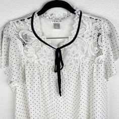 VENUS Tops | Venus Polka Dot Crochet Blouse | Poshmark Venus Tops, Crochet Blouse, Polka Dot Top, Brand New, Best Deals, Outfits, Things To Sell, Black, Fashion