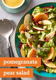Pomegranate Pear Salad – Winter salads have a charm all their own. Case in point, this festive bowl full of red leaf lettuce, mandarin oranges, red pears and pomegranate seeds.