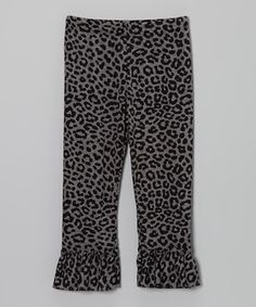 Love this Black & Gray Leopard Ruffle Leggings - Infant, Toddler & Girls by Nesting Baby on #zulily! #zulilyfinds