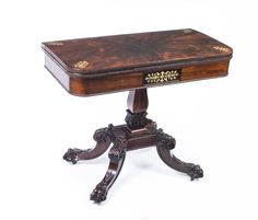 Card and games tables - Antique Regency Rosewood Brass Inlaid Card Table c.1825