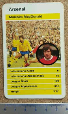 top trumps single card arsenal #Football club 70s - 80s malcolm macdonald 02 rare from $7.87