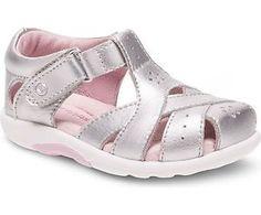Stride-Rite-Baby-Girls-SRT-Tulip-Silver-Leather-Velcro-Sandal-Size-3-8-BG55426