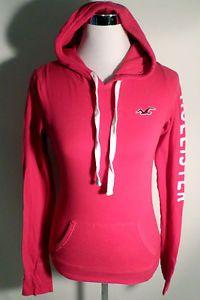 Womens Size M Hot Pink Hollister Lightweight T Shirt Hoodie, Long Sleeves