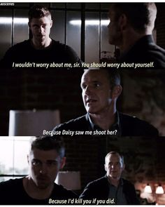 """""""Because Daisy saw me shoot her?"""" - Coulson and Lincoln #AgentsOfSHIELD"""