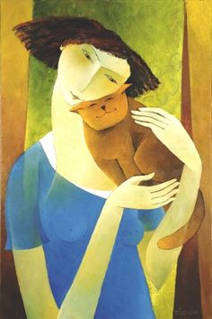 Woman with cat - Francoise Collandre