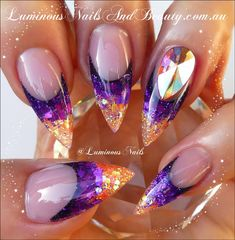 Luminous Nails: Purple & Orange Acrylic Nails with Big Bling... Available from www.luminousnailsandbeauty.com.au/ebook