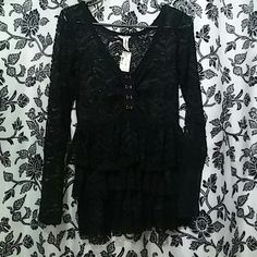 Long sleeve lace 3 ruffle shirt with corset style Super cute solid lace long sleeve black top with corset style top and 3 tier ruffels to give that baby doll effect bethany mota by aeropostale Tops Blouses