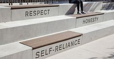 Words and phrases embedded into concrete