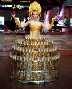 Best of 2013: Unique Wedding Ideas: The Woman Wearing A Champagne Tray Dress....had to pin this cuz its nuts haha