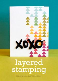 Layered stamping to achieve new ink colours + video -> layering 5 inks to give 9 ink colours
