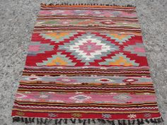 Rare Handwoven Wool Turkish Kilim Rug Carpet From Southern of Turkey Antalya Region Nomads Weaving!! Hand Spun Pure %100 Wool and Hand woven, Dyed