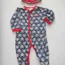 Bebe Cool Uk Brand Skull Crossbones Baby Boy Sleeper Romper Hat 6 9 Months Euc Photo