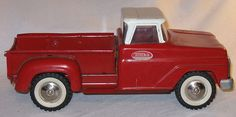 Vintage Tonka Toy Red White Pick Up Truck Early 1960's Pressed Steel Complete