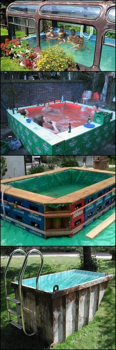 economical way to make your own swimming pool! You can choose from a wide variety of temporary swimming pools. Depending on your level of construction skills, you can easily build one, and save yourself from the cost of a permanent swimming pool. Diy Swimming Pool, Diy Pool, Outdoor Projects, Easy Diy Projects, Garden Projects, Garden Workshops, Pallet Projects, Piscina Diy, Outdoor Pool
