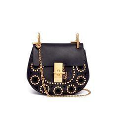 Chloe drew studded mini cross body  brand new in dustbag  19 x 17 cm  black calfskin with gold hardware  long gold crossbody strap  asking $1300  comment for more information or to purchase this item