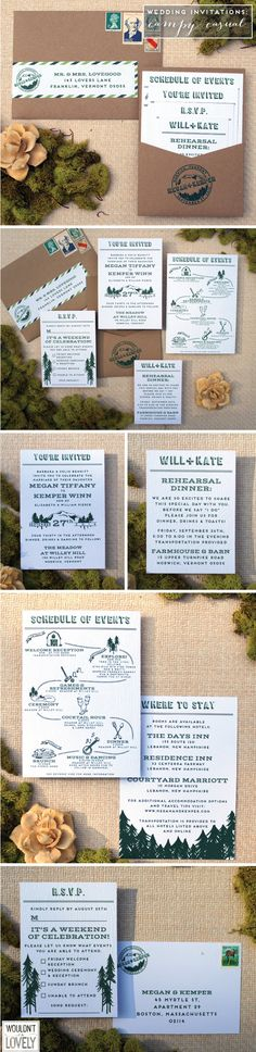 Some camp inspires wedding invitations! Rustic wedding invites, kraft, wood grain and forest green wedding. Custom mountain wedding logo stamp. Wouldn't it be Lovely