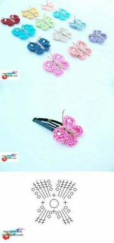 DIY Crochet Butterfly Clip DIY Crochet Butterfly Clip by diyforever Crochet Diy, Crochet Amigurumi, Love Crochet, Crochet Gifts, Crochet Motif, Crochet Flowers, Crochet Stitches, Crochet Patterns, Crochet Butterfly Free Pattern