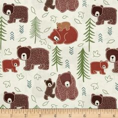 Lewis & Irene Big Bear, Little Bear Big Bear, Little Bear Cream from @fabricdotcom  Designed by Lewis and Irene, this cotton print fabric is perfect for quilting, apparel and home decor accents. Colors include ivory, shades of brown, green and teal.